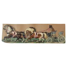 Beautiful Embossed 9 Inch Antique Die Cut Pug Dog Driving Horses