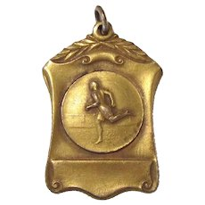 Antique Gilded Running Track Medal 100 Yards First Place