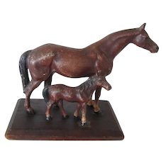Vintage Hubley Cast Iron Horse And Foal On Wood