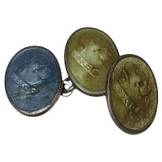 Early Antique Stamped Enameled Boston Terrier Cufflinks C.1900
