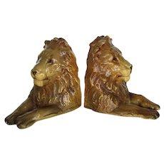 Rare & Wonderful Vintage Pair Male Lion Bookends Mortens