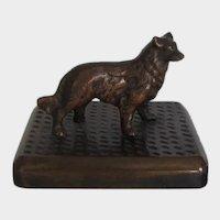 Solid Bronze Collie/Sheltie Dog On Plinth Vintage