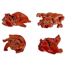 Set Four Animated Bulldog Dog Brooch/Pins Vintage