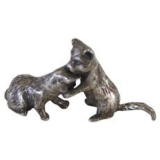 Vintage Silver Plated Miniature Cats/Kittens Playing