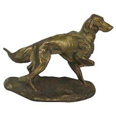 Outstanding Signed Bronze Irish Setter Dog Vintage