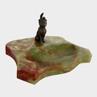 Victorian Bronze/Marble Pug Dog Pintray Has Toothache Antique