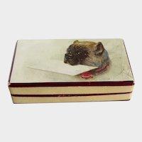 Wonderful Painted Miniature Stamp Box Pug Dog Antique