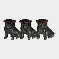 Victorian Three Pugs/Bulldogs Dogs Brass Pin Antique