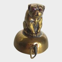 Antique Figural Brass Tape Measure Bulldog/Pug Dog Rare