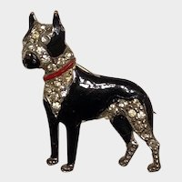 Boston Terrier Dog Vintage Enamel And Rhinestone Pin