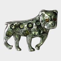 Silver Plated Antique Bulldog Dog Rhinestone Pin