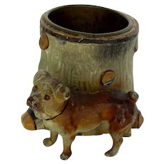 Wonderful Cold Painted Match Holder Pug Dog Antique