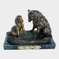 Solid Bronze On Marble Child w/Collie Sheltie Dog Signed G. Ferrad Vintage