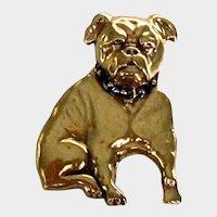 Lovely Bulldog Dog Pin/Brooch Gold Tone Vintage