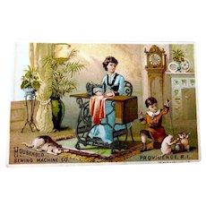 Household Sewing Machine Co. Trade Card w/Family Scene Cats Dogs Vintage