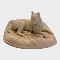 Beautiful Belleek Boston Terrier Dog Porcelain Vintage