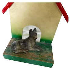 Rare Cast Iron German Shepherd Dog Paperweight On Doghouse Vintage