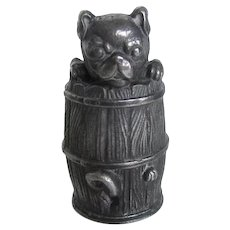 Antique Shaker Pounce Pot Pug Dog Silver Plated