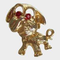 Vintage Pug Dog Gold Tone Pin Rhinestone Eyes