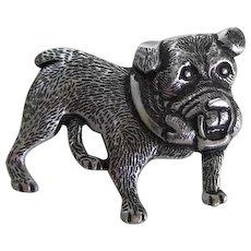 Marked Germany Silver Tone Bulldog Dog Pin Vintage