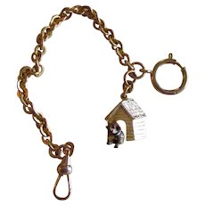 Vintage Pug Dog Watch Fob With Chain