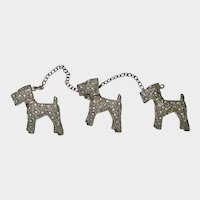 Chatelaine Three Fox Terrier Dogs Pin/Brooch Vintage