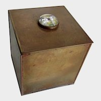 Small Vintage Brass Box Germany With Intaglio Fox Terrier Dog