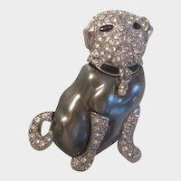 Designer Kenneth Lane Duchess of Windsor Pug Dog Pin/Brooch Vintage