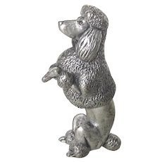 Lovely Solid Pewter Poodle Dog Show Cut Italy Vintage