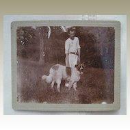 Cabinet Photo Man and Saint Bernard Dog
