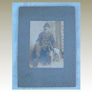 Antique Cabinet Photo Man and English Setter Dog