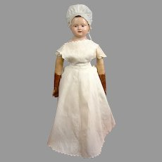 Mid 1800s  Antique White Cotton Fashion Maid's Apron for The Biggest ; Best Antique Fashion Dolls!