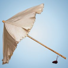 Exquisite Victorian Child's Parasol Of Plum And Cream Pinstripe Silk With Tassel And Bamboo Handle For Doll Display