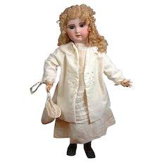 Fashion-Forward Vintage 1920s Silk Top Coat & Organdy Dress Set w/Silk Bonnet for Your Antique Bisque Jumeau!