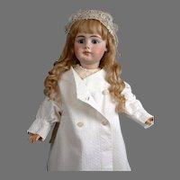Quaint & Elegant Antique White Soft Cotton Pea Coat for the Best Big Bisque Girls -- Great for Simon & Halbig 949s!