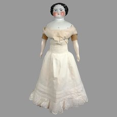 Delectable Thick Lawn Half Slip With Oodles of Embroidery For Fashion Or China Lady Doll c1865