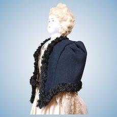 Tailored Opera Cape C. 1860 With Black Silk Fringe Trim In Rare Large Size