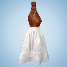 "Incredible Hand Embroidered Half Slip For 18-21"" Fashion or China Lady Doll C. 1870"