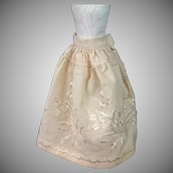 Richly Decorated C. 1870 Wool Halfslip of Silk Pictorial Embroidered Homespun!