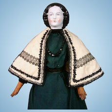 Striking White and Black Cape C. 1860 For Blampoix, Rohmer or Huret Poupee