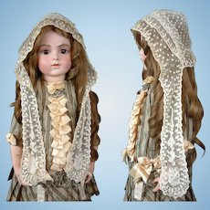 Stunning Early C. 1860 HAND MADE Net Lace Bonnet with Fichu Medallion Ties
