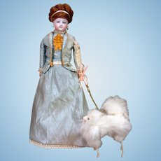 """Fluffy Petite Fashion Doll Dog of 5"""" with Rare attached Metal Leash"""