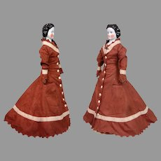 """Stupendous 22"""" Conta & Boehme China Lady Featuring Rare Snood With Comb And Corseted Goldsmith Body C. 1875"""