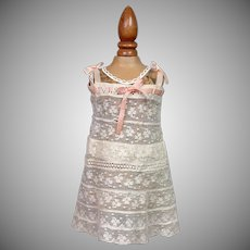 Lovely Antique 100% Lace Slip, can be used as half or full, w/Rose Insertion Ribbon & Handmade Construction -- Exquisite!