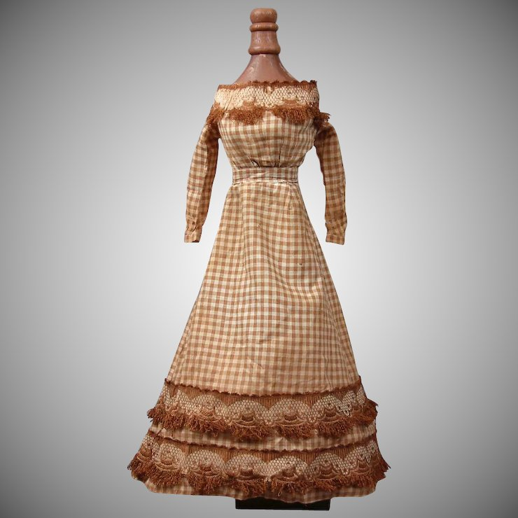 Extremely Rare Civil War Era Gingham Ballgown For China or Fashion ...