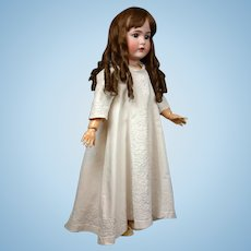 Exquisite Snow White Pique Child's Gown With Hundreds of Feet of Soutache Trim For Large Doll or Display C. 1850-1860