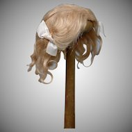 "Exquisite 100% Antique Mohair Golden Blond Wig 9"" Circumference For Your Petite Dolls"