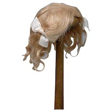 """Exquisite 100% Antique Mohair Golden Blond Wig 9"""" Circumference For Your Petite Dolls"""
