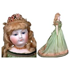 """29"""" Bisque Arm Fashion Doll By Eugene Barrois~Cobalt Eyes TWO COSTUMES C. 1862 ~Layaway Available~"""