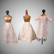 ~Three Piece Set~ C. 1870 Fashion China or Parian Doll Undergarments Two Half Slips + Chemise